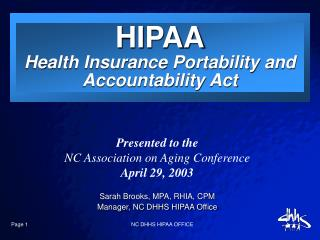 Page 1                 NC DHHS HIPAA OFFICE