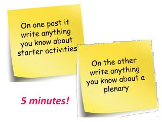 On one post it write anything you know about starter activities