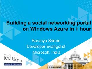 Building a social networking portal on Windows Azure in 1 hour