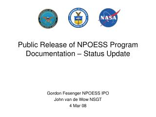 Public Release of NPOESS Program Documentation   Status Update