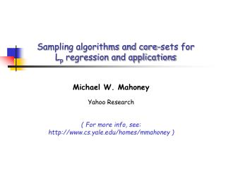 Sampling algorithms and core-sets for Lp regression and applications
