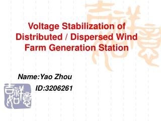 Voltage Stabilization of Distributed