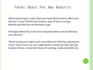 Travel Nursing Pay And Benefits