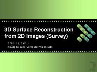 3D Surface Reconstruction from 2D Images Survey