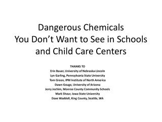 Dangerous Chemicals  You Don t Want to See in Schools and Child Care Centers