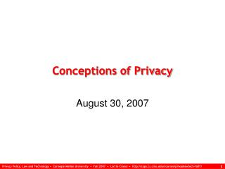 Conceptions of Privacy