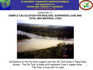 CHAPTER 11: SAMPLE CALCULATION FOR BEDLOAD, SUSPENDED LOAD AND TOTAL BED MATERIAL LOAD
