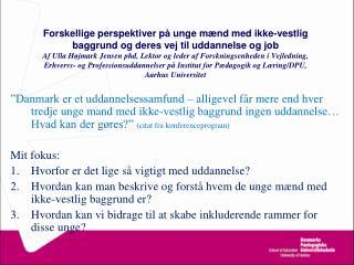 Forskellige perspektiver p  unge m nd med ikke-vestlig baggrund og deres vej til uddannelse og job Af Ulla H jmark Jense