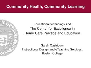 Community Health, Community Learning