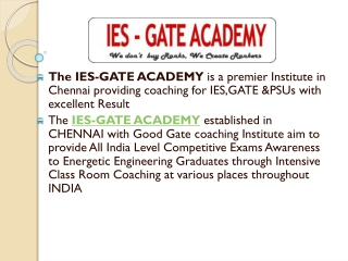 IES GATE Coaching Classes Chennai - IES GATE Academy