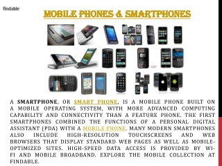 Explore Mobile Phones and Smartphones at Findable