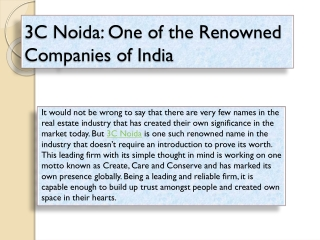 3C Noida: One of the Renowned Companies of India
