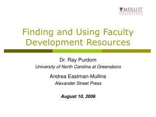 Finding and Using Faculty Development Resources