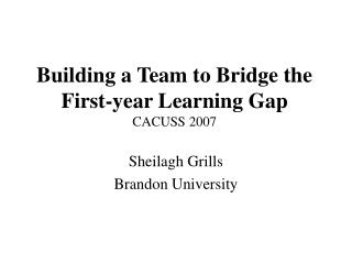 Building a Team to Bridge the First-year Learning Gap CACUSS 2007