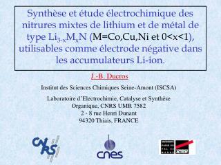 Synth se et  tude  lectrochimique des nitrures mixtes de lithium et de m tal de type Li3-xMxN MCo,Cu,Ni et 0x1, utilisab