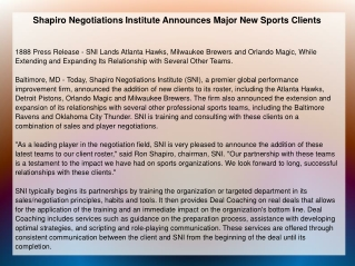 Shapiro Negotiations Institute Announces Major New Sports