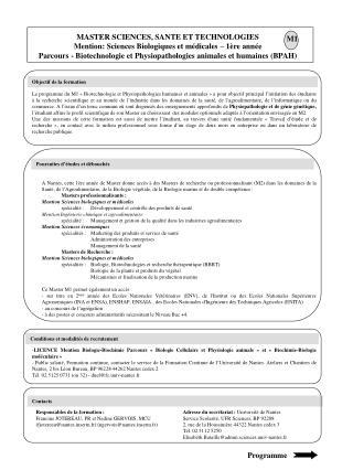 MASTER SCIENCES, SANTE ET TECHNOLOGIES Mention: Sciences Biologiques et m dicales   1 re ann e Parcours - Biotechnologie