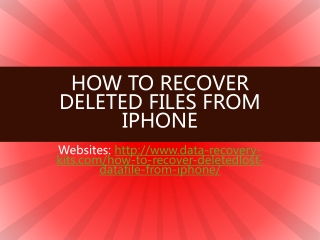 iPhone Data Recovery:How to Recover Deleted Files from iPhon