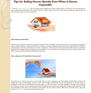 Tips for Selling Homes Quickly Even When It Seems Impossible