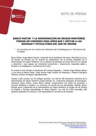 Ángel Ron y Banco Pastor firman un acuerdo con DO Monterrei
