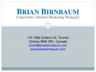 Brian BirnBaum Web Copywriting