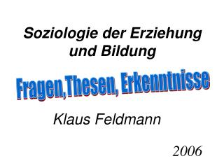 Soziologie der Erziehung und Bildung