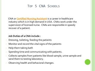 Top 5 CNA Schools