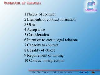 1 Nature of contract 2 Elements of contract formation 3 Offer 4 Acceptance 5 Consideration 6 Intention to create legal r