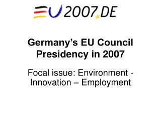 Germany s EU Council Presidency in 2007