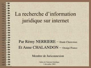 La recherche d information juridique sur internet