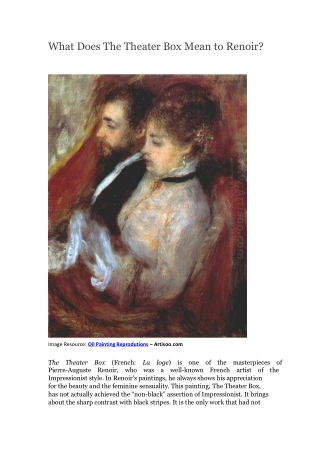 What Does The Theater Box Mean to Renoir