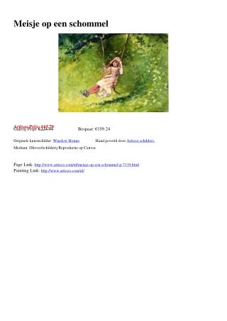 Meisje op een schommel - Artisoo.com