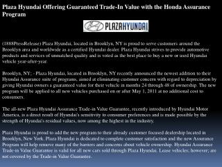 plaza hyundai offering guaranteed trade-in value with the ho
