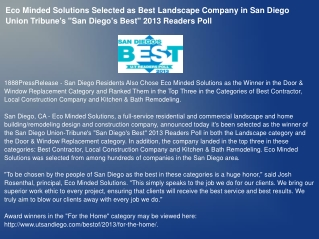 Eco Minded Solutions Selected as Best Landscape Company