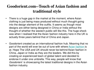 .Goodorient.com--Touch of Asian fashion and traditional styl