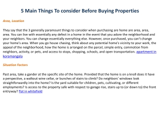 5 main things to consider before buying property