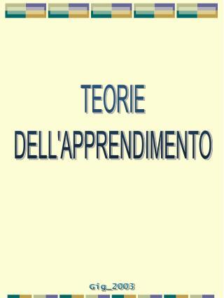 TEORIE DELLAPPRENDIMENTO