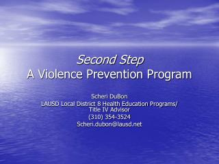 Second Step A Violence Prevention Program