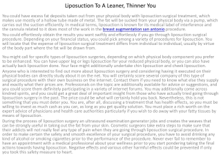Liposuction To A Leaner, Thinner You