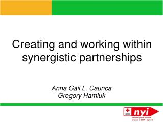 Creating and working within synergistic partnerships