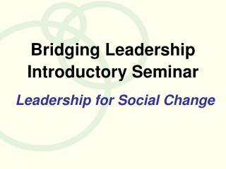 Bridging Leadership Introductory Seminar