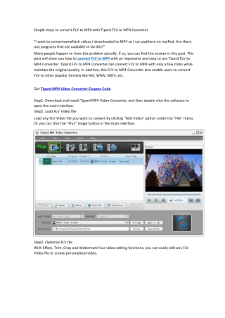 Simple steps to convert FLV to MP4