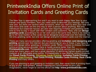 Print Invitation Cards and Greeting Cards at PrintweekIndia