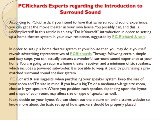 PCRichards Experts regarding the Introduction to Surround So