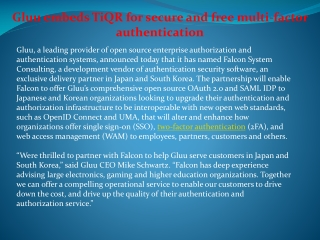Gluu names Falcon exclusive delivery partner in Japan and So