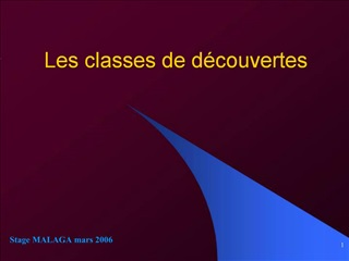 Les classes de d couvertes