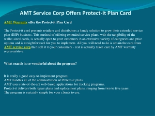 AMT Service Corp Offers Protect-it Plan Card