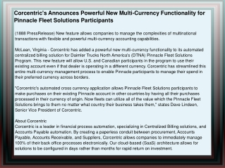 Corcentric's Announces Powerful New Multi-Currency