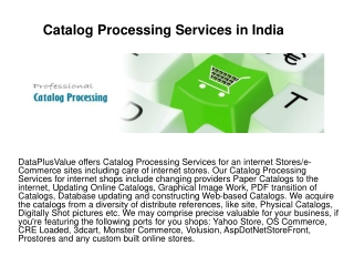 Catalog Processing Services in India