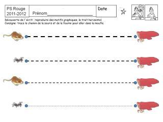 D couverte de l  crit:  reproduire des motifs graphiques, le trait horizontal. Consigne: trace le chemin de la souris et